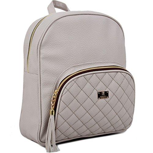 Copi Women's bags Lovely, feminine Round Shape Design Quilted Point Small Backpacks Light Gray