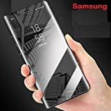 MOBITUSSION New Luxury Smart Semi Clear View with Standing Mirror Flip Case for Samsung C9 Pro (MflipStand SamC9 Black)