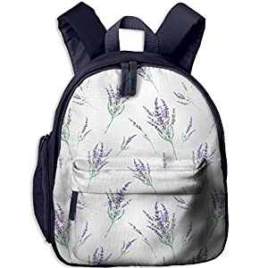 Sunmoonet Toddler Backpack, Lavender Purple Flora Flower Print Pre School Backpack For Kids Children