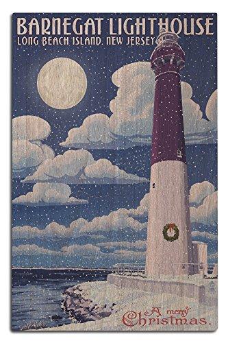 Lantern Press Long Beach Island, Jersey - Barnegat Lighthouse Christmas Scene (12x18 Wood Wall Sign, Wall Decor Ready to (Long Beach Island Lighthouse)