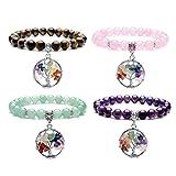 Top Plaza 7 Chakra Reiki Healing Crystal Beads Natural Gemstones Meditation Balancing Stretch Bracelet With Handmade Wire Wraped Tree of Life Charm(Set Of 4#1)