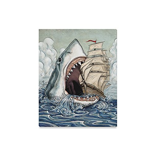 Artistic Scary Shark With Sharp Teeth With Ship Oil Painting Home Decorative Canvas Prints- 16x20Inch(One Side)