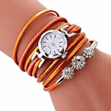 CLEARANCE!! Women's Watches Sonnena Ladies Bracelet Student Circle Watch Analog Wrist Watch Jewelry Set , HOT SALE 2018 Wrist Watch for Party Club Casual Watches Valentine's Day Gift Stainless Steel Watch (Watch, Orange)