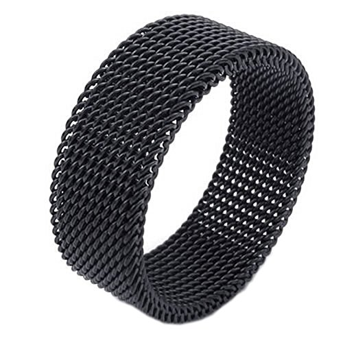 KONOV 8mm Flexible Stainless Steel Screen Mens Womens Ring, Woven Mesh Band, Black - Size 10