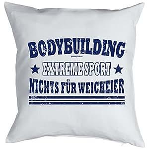 Cojín con diseño deportivo–Bodybuilding Extreme Sport–Nada para blandos.–Cojín–Sofá–Blanco