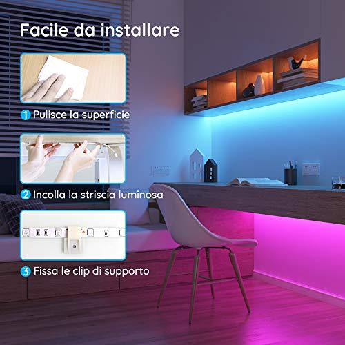 Govee Striscia LED, 5m RGB con 44 Tasti Telecomando IR, 20 Colori 6 Modalità, Luci Colorate per Decorazioni, Cucina, Bar, Festa, 12V, 1.5A
