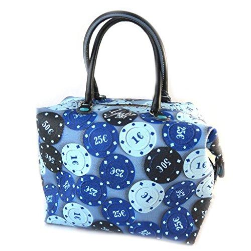 3 en 1 bolso azul 'Gabs'(fichas de casino)(l)- 43x37x2.5 cm.
