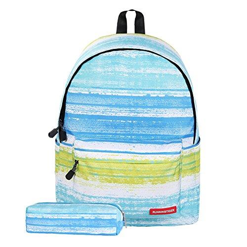 """Artone Delfín Casual Mochila Colegio Daypack Con Compartimento Para Computadora Portátil De 14 """" Azul Juego de Rayas de 2"""