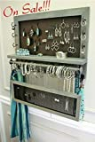 On Sale!!! Wall Mounted, Scroll Trim Series Wall Mounted Jewelry Organizer with Bracelet Bar and Stud Earring Holder