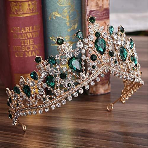 Red Green Crystal Big Crown Headwear Bridal Wedding Hair Accessories Bride Tiaras Princess Crowns Green ()