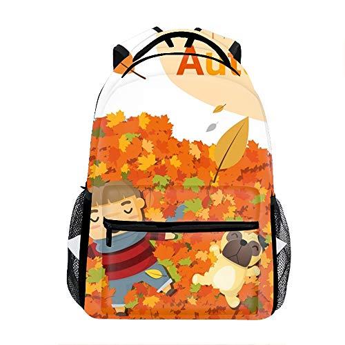 Backpacks Female knapsack Daypack Lightweight College Bags School Bookbag Casual fashion Hello Autumn Boy Pug Backpacks
