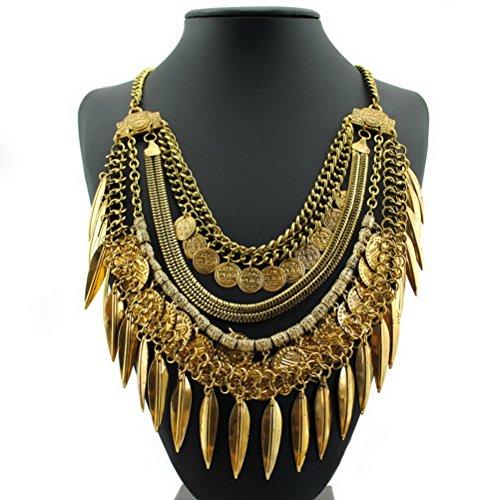 Statement Necklace SUMAJU Womens Bohemian Turkish Chain Tassel Bib Collar Necklace Leaf Coin Boho Golden Tone