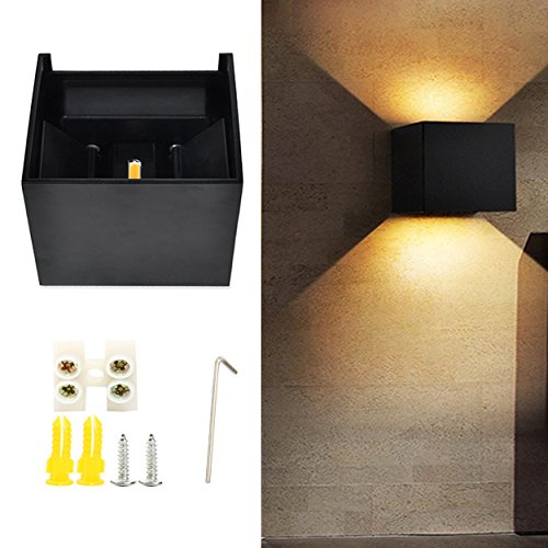 Yaekoo LED Aluminum Waterproof Wall Lamp Wall Sconces 12W 85-265V 3200K Up and Down Adjustable Outdoor Wall Light Warm Light 2 LEDS (Black)