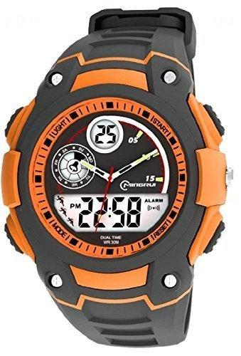 OUANGANC Water-proof Digital-analog Boys Girls Sport Digital Watch Alarm Stopwatch Chronograph (Orange)