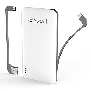 dodocool Mini Batería Externa MFI Certificado 5000mAh Ultrafino 2 Puertos Cargador Portátil con Micro USB Cable y cable para iphone,compatible para ...