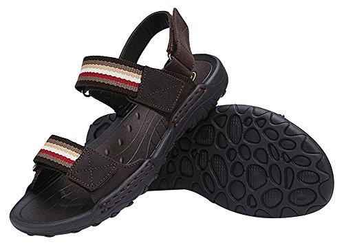 Sandali Da Uomo Agowoo Sandali Da Spiaggia Con Chiusura A Velcro Deep_brown