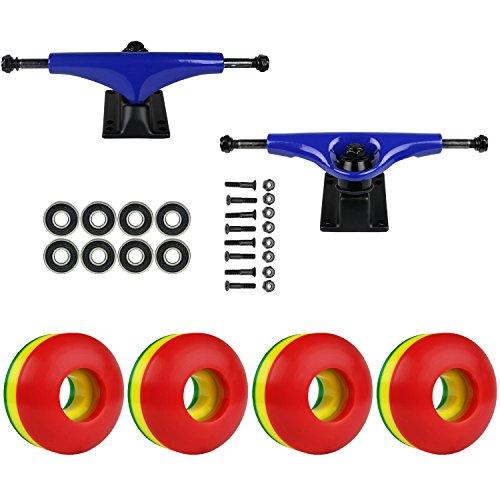 精度完了歌手スケートボードパッケージHavocブルー5.0 Trucks 50 Mm Rasta 3色ABEC 7 Bearings