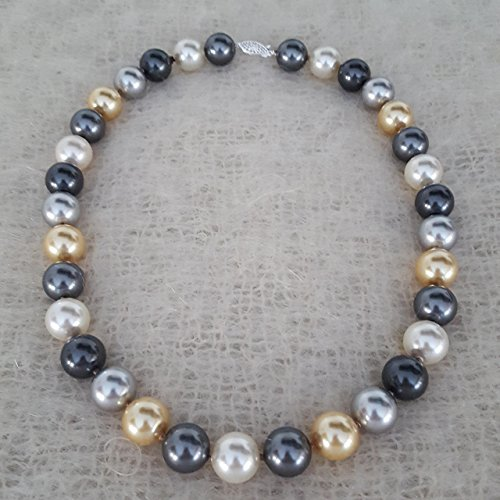 20 inch Multi color Pearl Necklace Hand Knotted 14mm Simulated Swarovski Pearls by Nature Inspired Living Made in the USA (Mikimoto Tahitian Pearls)