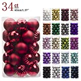 """KI Store 34ct Christmas Ball Ornaments Shatterproof Christmas Decorations Tree Balls Small for Holiday Wedding Party Decoration, Tree Ornaments Hooks Included 1.57""""(40mm Red)"""