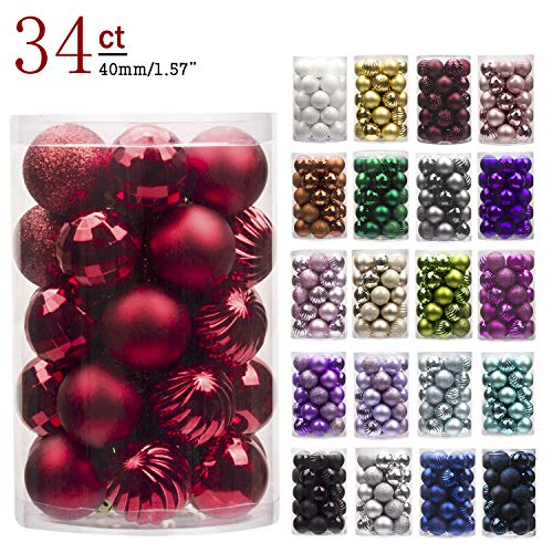 "Green Centerpiece Christmas Mini (KI Store 34ct Christmas Ball Ornaments Shatterproof Christmas Decorations Tree Balls Small for Holiday Wedding Party Decoration, Tree Ornaments Hooks Included 1.57""(40mm Red))"