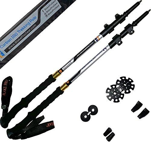 Blake-Pro-Gear-100-Carbon-Fiber-Trekking-Walking-Hiking-Poles-2-Pack-Ultra-Strong-Light-Weight-Collapsible-Telescoping-Quick-Flip-Lock-Anti-Shock-Stick-Men-Women-Tungsten-Tips-and-Bonus