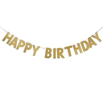 OULII Feliz cumpleaños Glitter oro guirnalda bandera bandera ...
