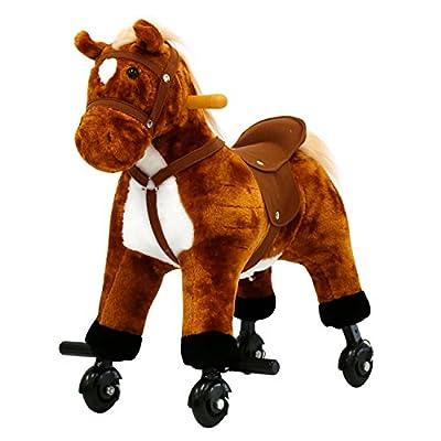 Kinbor Rocking Horse Ride-on Plush Toy Birthday Gifts, Christmas Day Gift