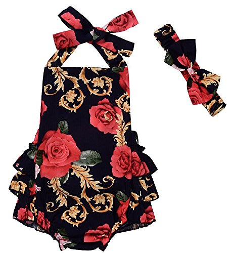 CM C&M WODRO Baby Girls Floral Print Ruffles Romper Summer Clothes with Headband (Black, 6-12 Months)
