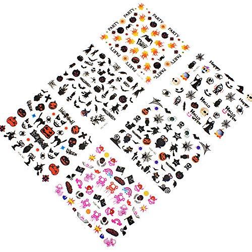 24X Cute Stickers Cartooon Nail Stickers for Halloween Pumkin/Skull/Ghost/Bat/Grim Reaper/etc 3D Tips Stickers Set]()