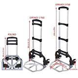 [US Stock] Pesters 150lbs Heavy Duty Folding Hand Truck Dolly, Aluminium Hand Collapsible Trolley Luggage Cart