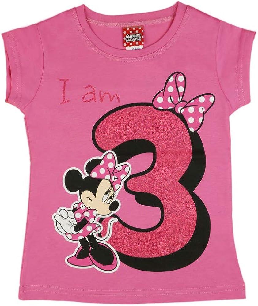 M/ädchen Baby Kinder dritter Geburtstag Kurzarm T-Shirt 3 Jahr Baumwolle Birthday Outfit GR/ÖSSE 98 104 Minnie Mouse Disney Design Glitzer Weiss oder Rosa Babyshirt Oberteil Farbe Rosa