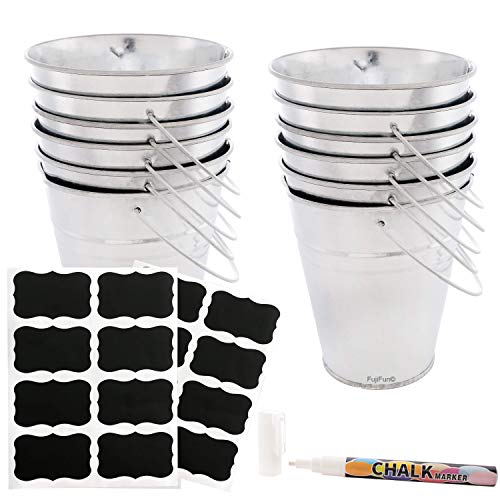 FujiFun 12pc Galvanized Metal Buckets Handle 5in x 5in 16pc Chalkboard Label 1pc White Chalk Marker (Large Handles With Buckets Metal)