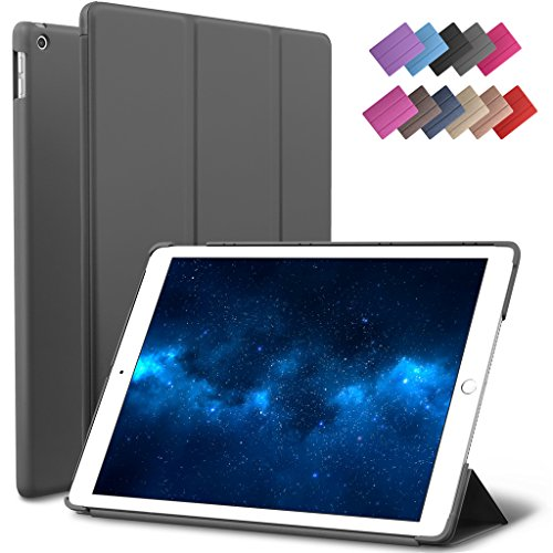 New iPad 9.7-inch 2018 2017 Case, ROARTZ Gray Slim-Fit Smart Rubber Folio Case Hard Cover Light-Weight Wake Sleep For Apple iPad 5th 6th generation Retina Model A1893 A1954 A1822 A1823