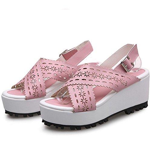 TAOFFEN Women Cross Platform Wedge Heel Slingback Summer Sandals Pink NpcqzoTN6
