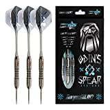 All In Gear Darts Odin Spear Vikings Dart Set or Collector Chest, 23 Grams, 3 Nickel Plated Brass Barrels, Features Steel Tips, Aluminum Shafts, PET Flights for Dart Boards