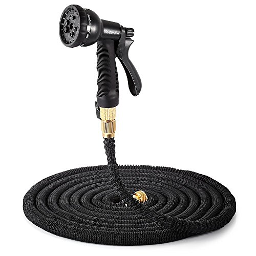 WeGarden 50ft Expanding Hose,Strongest Expandable Garden Water Hose with Double Latex Core,Solid Brass Connector and Extra Strength Fabric with 8 Pattern Spray Nozzle for House Car Garden Hose Nozzle