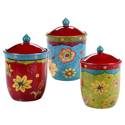 Certified International 22455 3 Piece Tunisian Sunset Canister Set, Multicolor