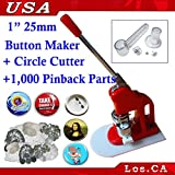 1inch Economical Button Maker+1,000 Pin Parts+circle Cutter(item#015086)