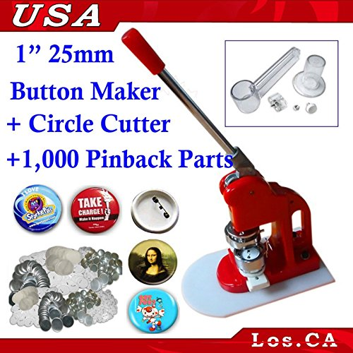 1inch Economical Button Maker+1,000 Pin Parts+circle Cutter(item#015086) by Button Maker