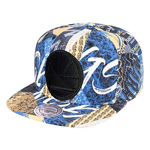 Mitchell & Ness NBA Paysage All Over Team Printed Graphic Adjustable Snapback Hat (Golden State Warriors)