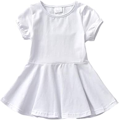 Miyanuby Vestidos de Algodón para Bebé Niñas Recién Nacida Cuello Redondo Llanura Alinear Básico Ballet Vestidos de Baile Falda: Amazon.es: Ropa y accesorios