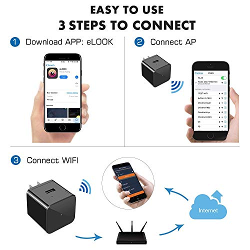 Hidden Camera WiFi Adapter 1080P Spy Camera Wall Charger with Night Vision USB