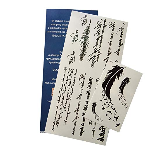 Kotbs Temporary Tattoos Paper Lovely English Words & Feather Designs Body Art Make up for Women Fake Tattoo Sticker (1 Sheet Pack)