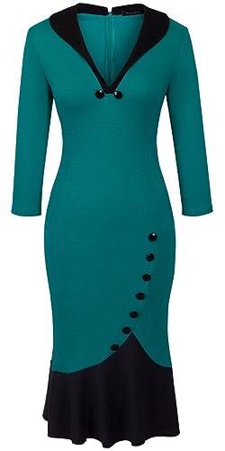 Homeyee Women's V neck Ball Fishtail Pencil Dress UB27