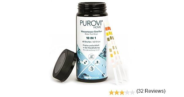 Purovi® Kit de Tiras para Análisis de Agua 10 en 1   60 Tiras para ...