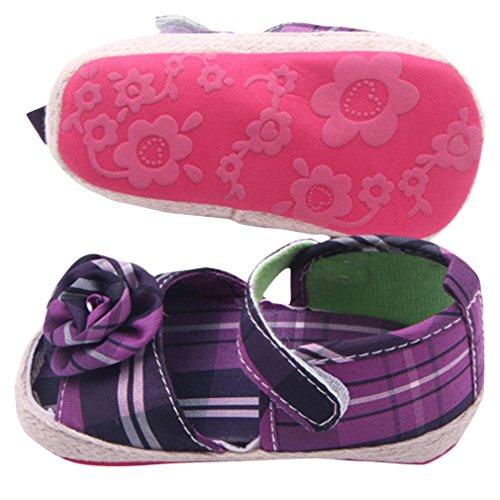 V-SOL Sandalias Abiertas De Vestir Tela Para Bebé Niña Con Velcro 0-1año Morado
