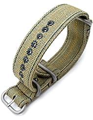Zulu 22mm Color Khaki Watch Strap, Stitching Blue, MiLTAT Thick X2 Washed Canvas
