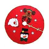 KODORIA Christmas Tree Skirt Round Tree Skirt with Snowman Santa Claus Elk Pattern Christmas Tree Ornaments Decoration Xmas Tree Cover Home Party Decor,42inch