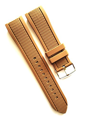 - 24mm Brown Waterproof Silicone Rubber Curved End Dive Watch Band Strap