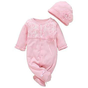 f9708ec5a76 ALLAIBB ベビー服 2点セット 新生児 ロンパース 前開き 足付き レース カバーオール 長袖 女の子 コート